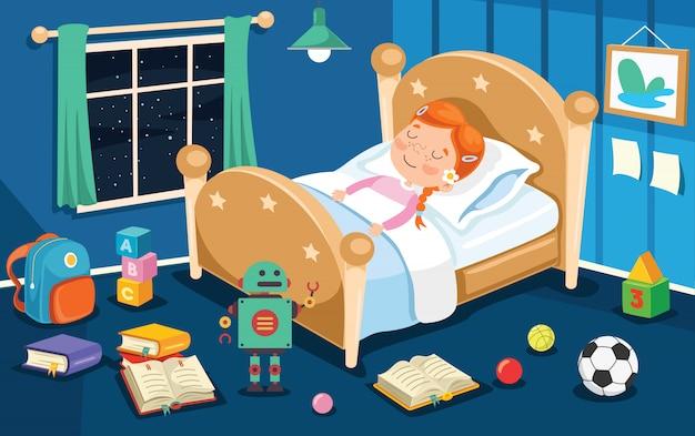 Маленький милый ребенок спит в постели Premium векторы
