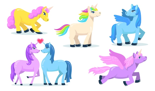 Маленький милый пегас и плоский набор единорога для веб-дизайна. мультфильм волшебные пони для принцессы изолировал коллекцию векторных иллюстраций. фантазия для концепции ребенка и животных Бесплатные векторы