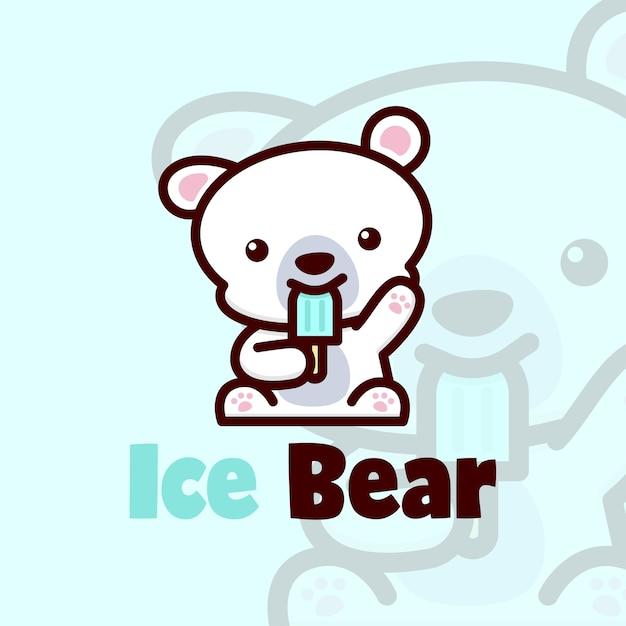 Little cute polar bear eating ice cream logo vector Premium Vector