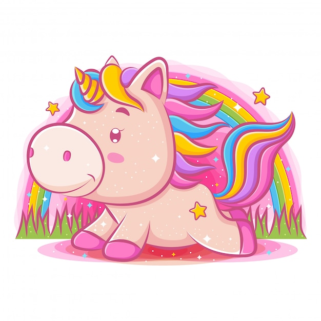 Little cute unicorn playing at the park Premium Vector
