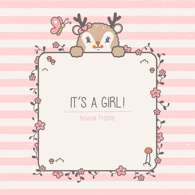 작은 사슴 아기 프레임 및 원활한 패턴입니다. 귀여운 배경으로 아이의 그림 프리미엄 벡터