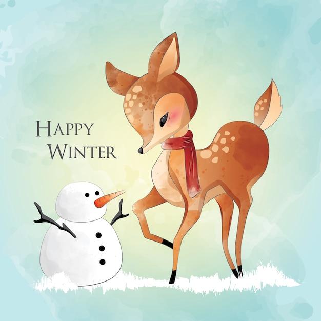 Little deer and a snowman Premium Vector