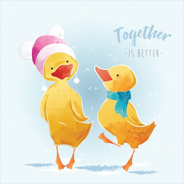 Little duck and his friend in the christmas Premium Vector