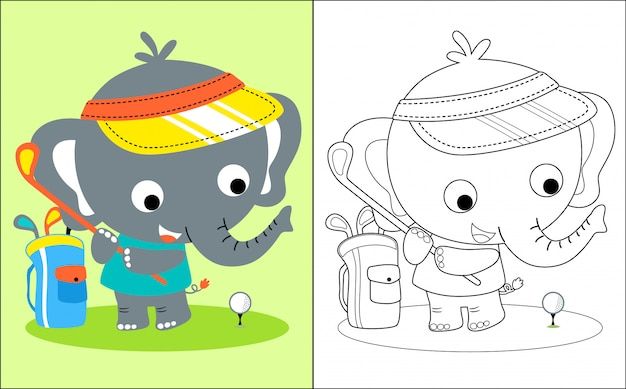 Little elephant cartoon playing golf Premium Vector