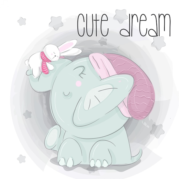 Little elephant dream  hand draw illustration Premium Vector
