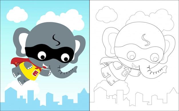 Little elephant the funny super hero cartoon Premium Vector