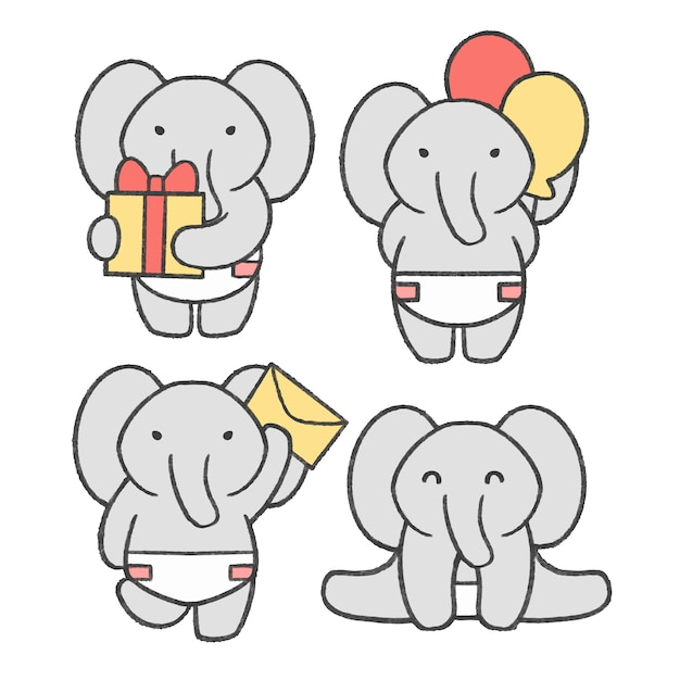 Little elephant hand drawn cartoon collection Premium Vector
