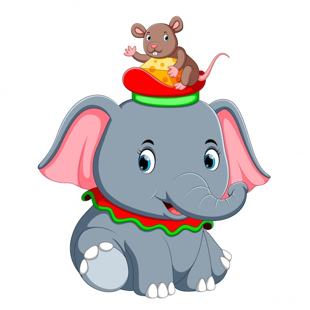 A little elephant play with a cute mouse on hat Premium Vector