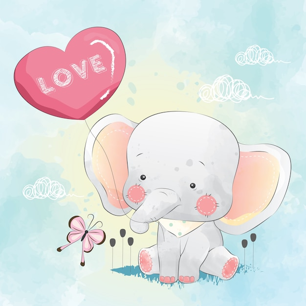 Little elephant playing with balloon Premium Vector