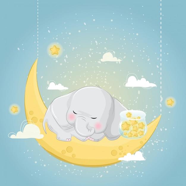 Little elephant sleeping with the stars Premium Vector