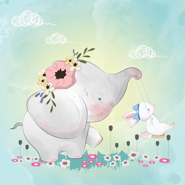 Little elephant with his friends bunny on the swing Premium Vector