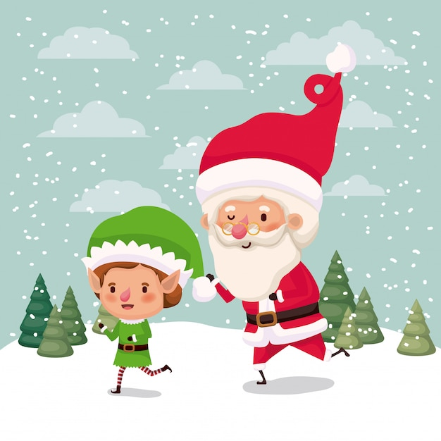 Little elf and santa claus characters in snowscape vector illustration Premium Vector