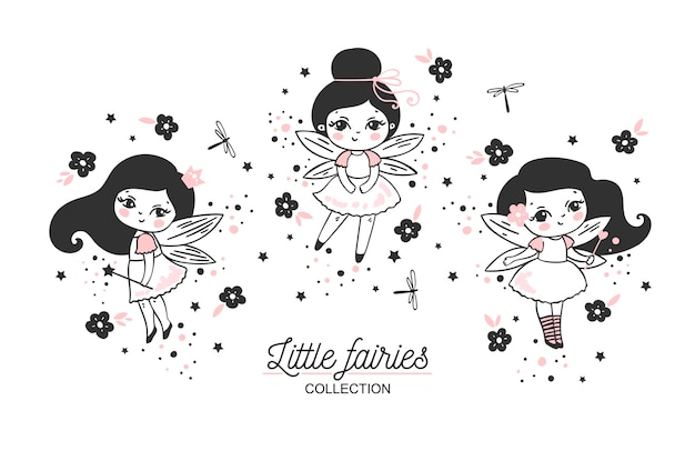 Little fairies collection with magic wands Premium Vector