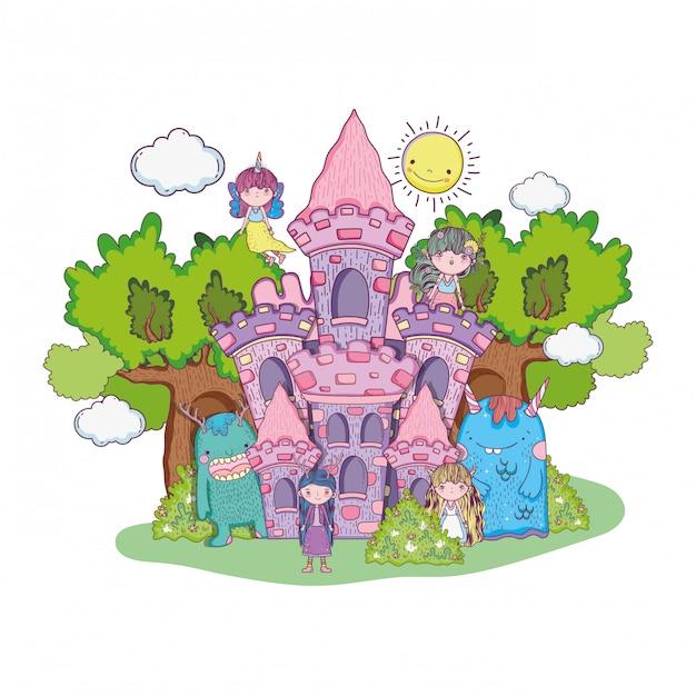 城の中のモンスターと小さな妖精のグループ Premiumベクター