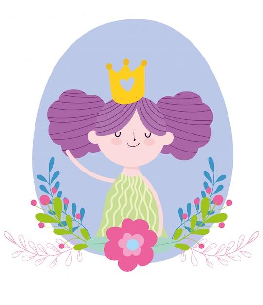 ゴールドクラウン花物語漫画と小さな妖精の王女 Premiumベクター