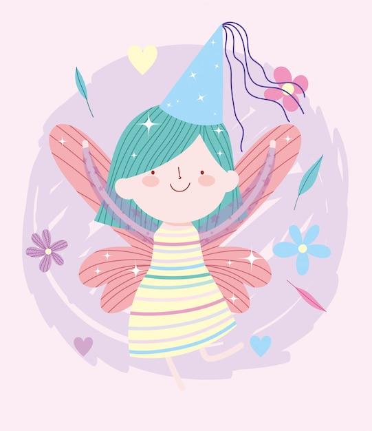 Маленькая сказочная принцесса со шляпой и цветами сказка мультфильм Premium векторы
