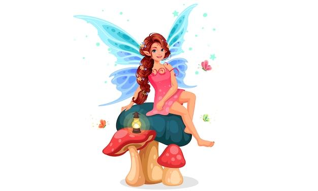 キノコの上に座っている小さな妖精 無料ベクター