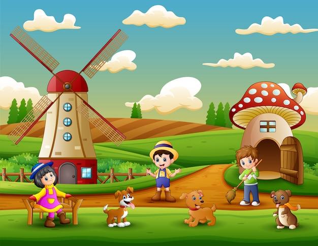 Little farmers an activity in the farm Premium Vector