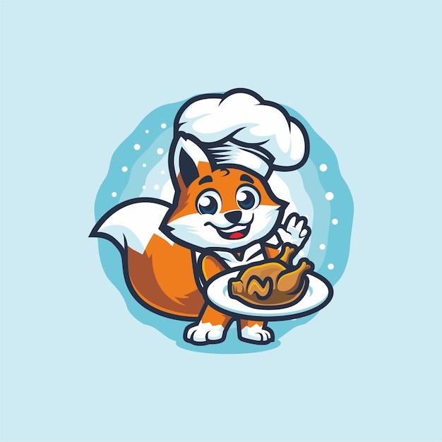 로스트 치킨 마스코트 디자인을 들고 리틀 폭스 요리사 프리미엄 벡터
