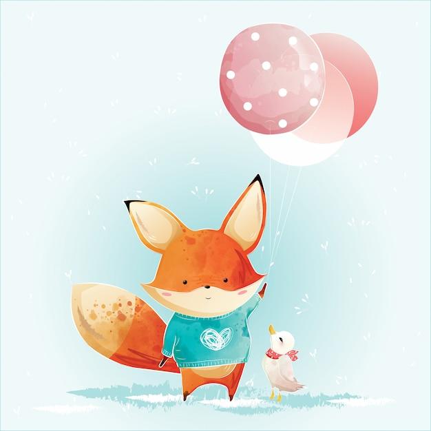 Little fox holding christmas balloons Premium Vector