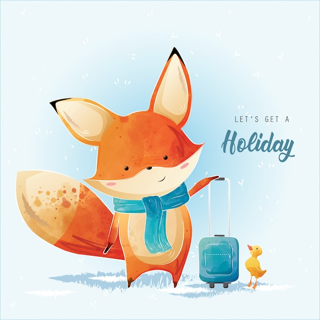 Little fox is getting a holiday Premium Vector