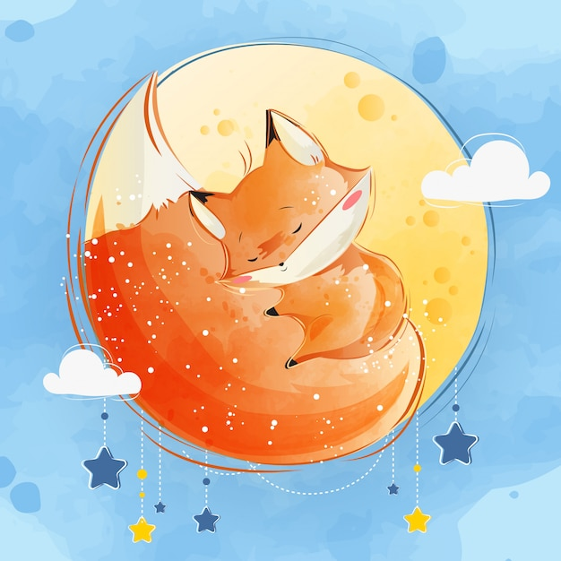 Little fox sleeping on its tail Premium Vector