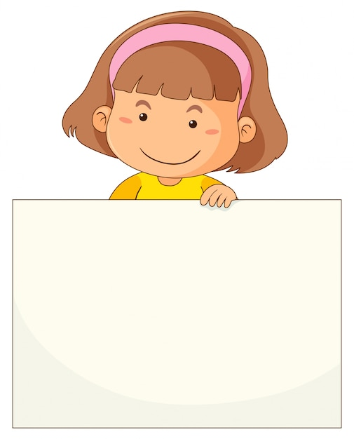 Little girl and blank paper Free Vector