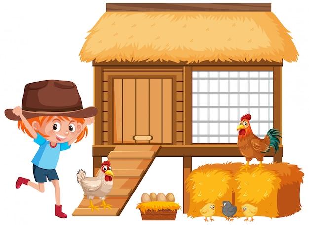 小さな女の子と農場で鶏 Premiumベクター
