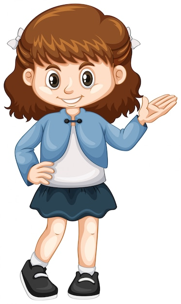 Little girl in blue jacket Free Vector