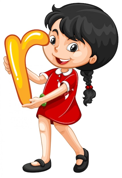 Little girl carrying a letter r Free Vector