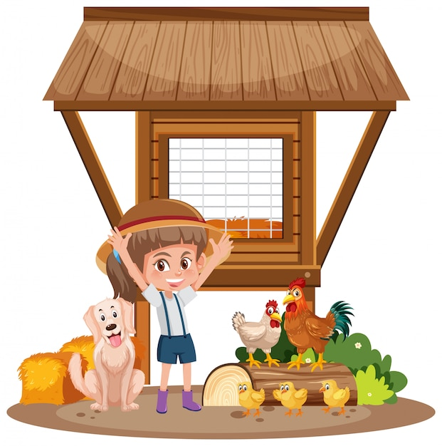 Little girl and chicken coop on white Premium Vector
