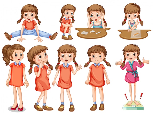 Little girl in different actions Free Vector