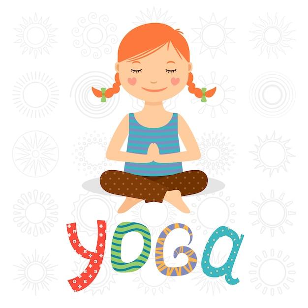 Little girl doing yoga Premium Vector