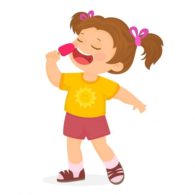 niño comiendo helado dibujo vector