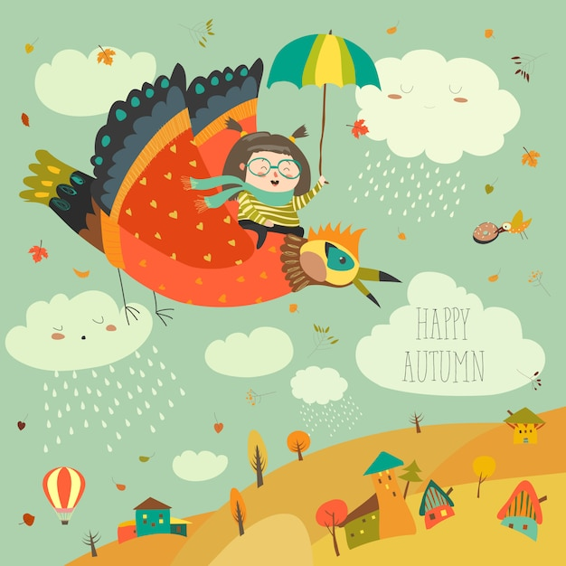 Little girl flying in the sky with funny birds Premium Vector