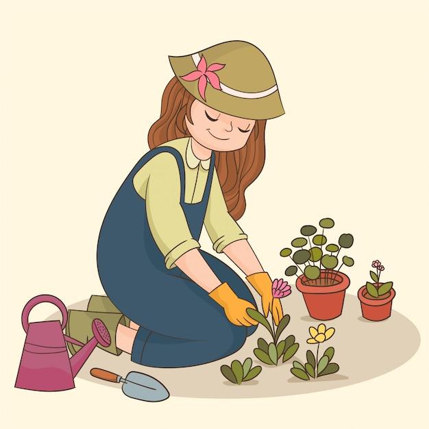 Little Girl Gardening Premium Vector