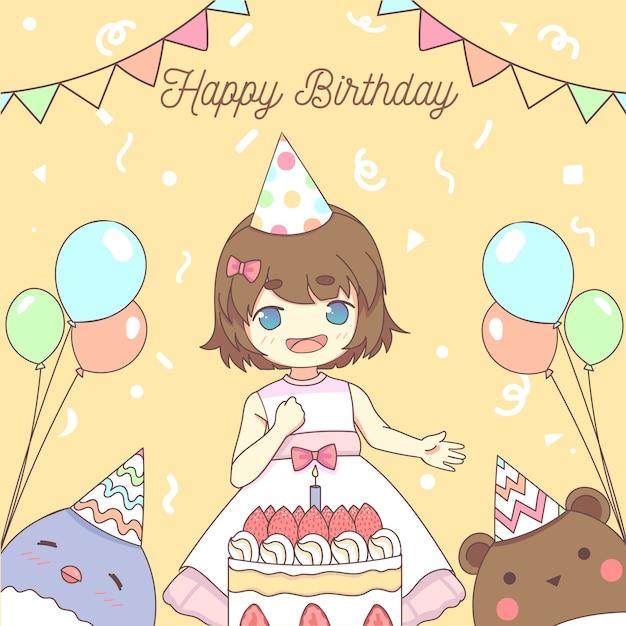 Concetto di buon compleanno bambina Vettore gratuito