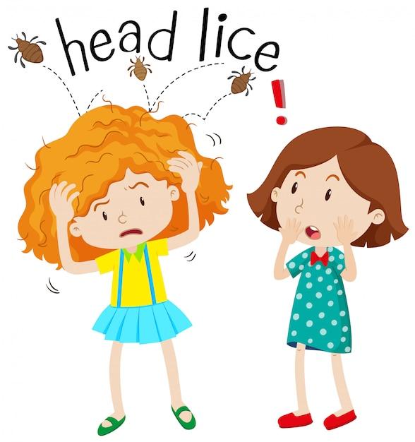 Little girl having head lice Premium Vector