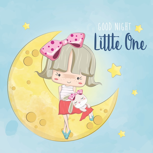 Little girl and her bunny on the moon Premium Vector