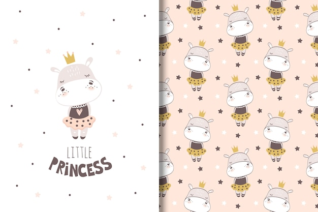 Little girl hippo card and seamless pattern for kids Premium Vector