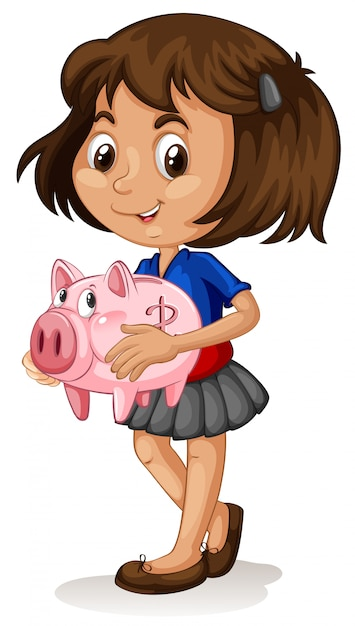Little girl holding a piggy bank Free Vector