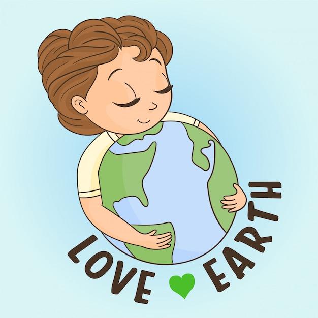 Little girl hugging planet Premium Vector
