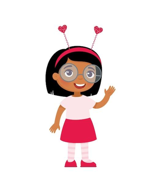 귀여운 머리띠에 어린 소녀입니다. 발렌타인 데이 축하. 무료 벡터