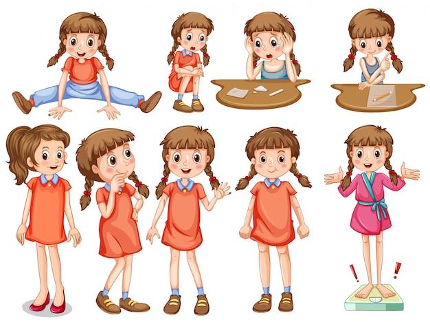 Маленькая девочка в разных действиях Бесплатные векторы