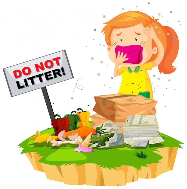 Little girl and litter pile Free Vector