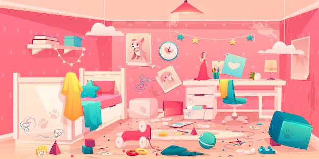 Little girl messy bedroom cartoon interior Free Vector