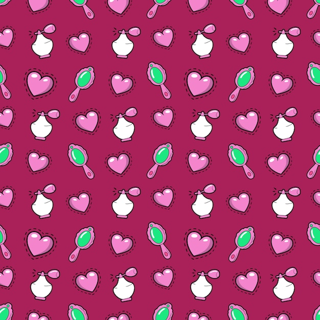 Little girl princess seamless background with pink hearts, perfume and mirror.  pattern Premium Vector
