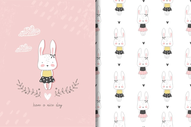 Little girl rabbit card and seamless pattern Premium Vector
