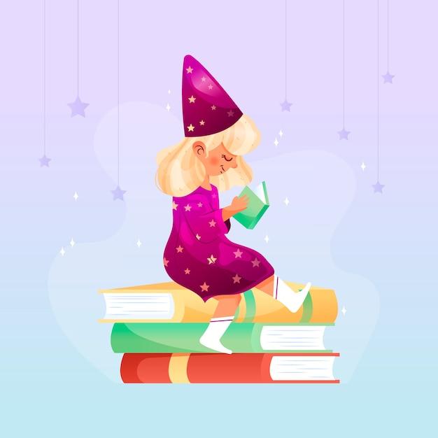 Маленькая девочка читает сказочную книгу Бесплатные векторы