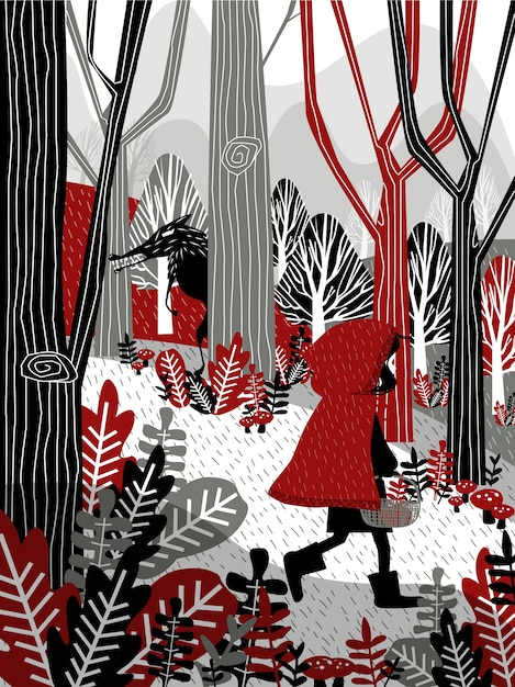 Little girl in red hood walking in forest Free Vector